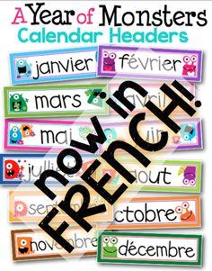 A Year of Monsters Calendar Headers {French Version} by Maria Gavin Classroom Calendar, Classroom Layout, French Classroom, Classroom Organisation, Classroom Posters, Classroom Ideas, French Teaching Resources, Teaching French, Teacher Resources