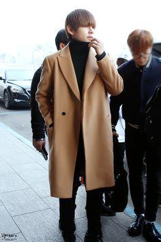 150123- BTS V (Kim Taehyung) @ Gimpo Airport #bts #bangtan #bangtanboys #fashion #style #korean