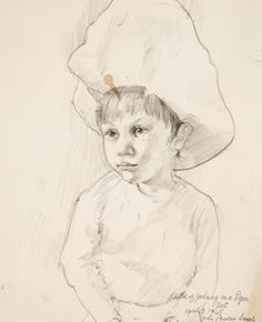 """""""Study of John in a Paper Hat."""" Pencil on paper, 14 x 10 in. Female Sketch, Male Sketch, Artwork, Humanoid Sketch, Graphic Artwork, John"""