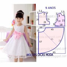 70 Ideas baby dress sewing tuto robe for 2019 Little Girl Dresses, Girls Dresses, Flower Girl Dresses, Fashion Kids, Kids Dress Patterns, Dress Anak, Kids Frocks, Toddler Dress, Baby Sewing