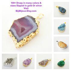 $24.00 Purple Druzy Center Agate Pendant, Orchid Purple Drusy Dipped in Gold, Flat Teardrop Pendant, Druzy Jewelryhttps://www.etsy.com/listing/188231501/purple-druzy-center-agate-pendant-orchid?ref=shop_home_active_2