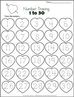 Valentine Hearts Math Worksheet - Trace 1 to 30 Free Heart Math worksheet. Trace the numbers from 1 to 30 on the hearts. This worksheet is a perfect valentine number practice printable for preschool Kindergarten Math Worksheets, Preschool Learning Activities, In Kindergarten, Preschool Activities, Preschool Activity Sheets, Preschool Writing, Valentines Day Activities, Holiday Activities, Math For Kids
