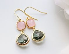 Pink & Grey Glass Earrings Pastel Pink Opal Charcoal Grey Gold Dangle Titanium Nickel Free by KaoriKaori on Etsy