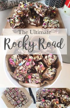 Corner Shop Rocky Road, The Ultimate Treat! Packed with Marshmallows, Smarties, . Köstliche Desserts, Delicious Desserts, Dessert Recipes, Yummy Food, Delicious Chocolate, Rocky Road Fudge, No Bake Treats, Yummy Treats, Sweet Treats
