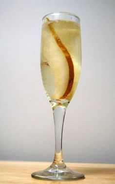 Pear-Ginger Champagne Cocktail - Drink of the Week Thanksgiving Cocktails, Fall Cocktails, Wine Cocktails, Bar Drinks, Cocktail Drinks, Yummy Drinks, Beverages, Holiday Drinks, Cocktail Shaker