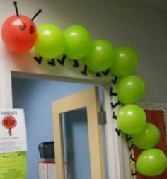 """Using balloons to create a classroom caterpillar is a creative idea. This would be great to use for """"The Very Hungry Caterpillar"""" by Eric Carle. Hungry Caterpillar Party, Caterpillar Craft, The Very Hungry Caterpillar Activities, Classroom Door, Eyfs Classroom, Classroom Themes, Classroom Ideas For Teachers, Creative Classroom Ideas, Creative Ideas"""
