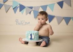 smash cake boy photos Simple Cake with #1 and Colin Grant on banner above cake. Love!!! | Via Kristy Hall