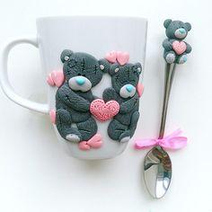 Набор Мишки Тедди на чашке и ложке  на заказ для @yulii_fedorova…