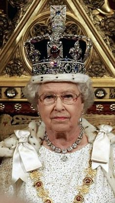The Queen wearing the Imperial State Crown at the Opening of Parliament
