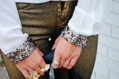 Sequin Cuffs and gold finger candy!