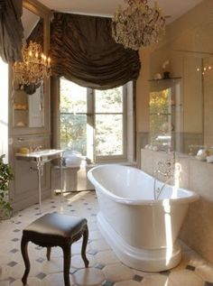 Omg I love that window treatment for our bathroom!