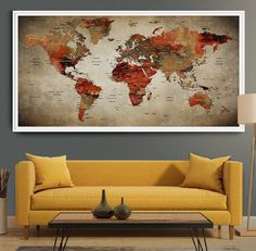 Large push pin world of map gift Travel Map wall art  extra large wall art home decor city labels of