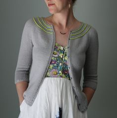 """Knitting pattern for Cassini Cardigan sweater with three quarter sleeves - Details inspired by the rings of Saturn, Knit from the top down in one piece Cassini features bright, raised """"rings"""" that encircle a round yoke on a neutral background. Finished bust: 30 (32.75, 35.75, 40.25, 43.75, 48.25, 52.25, 56.25, 60.25)""""/ 76 (83, 91, 102, 111, 122.5, 132.5, 143, 153) cm Etsy affiliate link tba"""