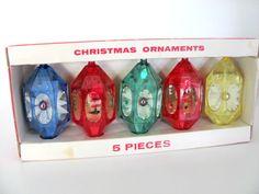 Vintage Christmas Ornament Set, 1960's Jewelbrite Diorama Ornaments, Plastic Christmas Ornaments, 1960's Christmas Decor, Mid Century by ThirstyOwlVintage on Etsy https://www.etsy.com/listing/248606502/vintage-christmas-ornament-set-1960s