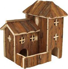 Das Nagerhaus Tura im Design einer Kirche wurde in liebevoller Handarbeit hergestellt und bietet viel zum Erkunden. Außerdem lädt das Rindenholz zum knabbern ein, so dass eine ideale Zahnpflege gegeben ist.