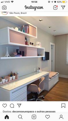 Best Home Office Quarto Moderno 27 Ideas Study Table Designs, Study Room Design, Home Room Design, Home Office Design, Girl Bedroom Designs, Kids Bedroom, Bedroom Decor, Teenage Room, Trendy Home