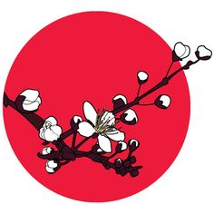 Red Cherry Blossoms Art Print (421.910 VND) ❤ liked on Polyvore featuring home, home decor, wall art, backgrounds, circle, circular, filler, round, cherry blossom wall art and red home accessories