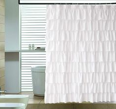 pin it for later. Read more on french country bathroom accessories. Ameritex Ruffle Shower Curtain Home Decor White Ruffle Shower Curtain, Ruffle Shower Curtains, White Shower, Shower Curtain Sets, Bathroom Shower Curtains, Panel Curtains, Curtain Fabric, Master Bathroom, Farmhouse Shower Curtain