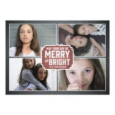 Chalkboard Red Framed Holiday Photo Card