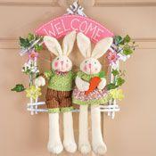 Welcome Easter Bunny Couple Floral Door Wreath