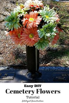 Save on the budget with this easy tutorial for DIY Cemetery Flower arranging.