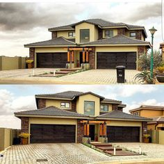 No photo description available. 6 Bedroom House Plans, My House Plans, Modern House Plans, Modern House Design, Modern Houses, South African Homes, African House, Storey Homes, Mansions Homes