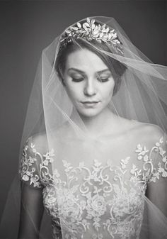 Reem Acra Wedding Dress and Ariel Taub Veil #wedding