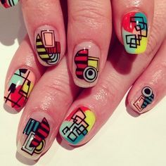 colorful psychedelic mix art nails NailSalon Avarice  #nailart