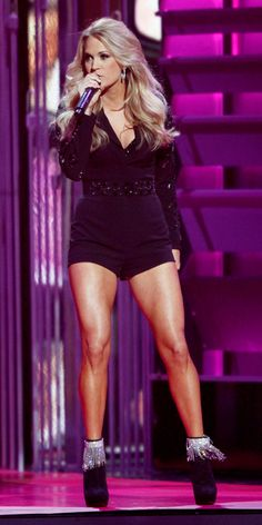 Carrie Underwood's 10 Different 2013 CMA Awards Looks - Chagoury Couture from #InStyle #romper