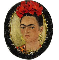 Self portrait, Frida Kahlo | oval miniature, 1938
