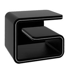 Nachtkastje Nima - kunstleer zwart