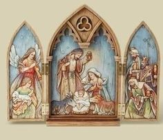 """Nativity Tryptych wood look made of resin, stone mix, paper in traditional colors. Dimensions 11 1/4""""H, 7""""W, 1 1/4""""D"""