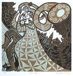 Pied Piper ~ Linocut by Elizabeth Rashley