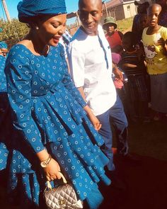 Spiffy Fashion Simple shweshwe dresses we love It - Sotho Traditional Dresses, African Traditional Wedding Dress, Traditional Dresses Designs, African Fashion Traditional, Traditional Outfits, African Evening Dresses, African Dresses For Women, African Print Dresses, African Attire