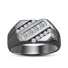 Slant Princess & Round Diamond Men's Wedding Band Ring In 14k Black Gold Over #Silvergemsjewelry #WeddingRing
