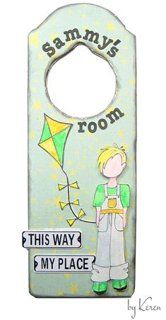 I thought it would be cute to make a door hanger for a boy's room using one of Julie Nutting's new boy stamps. This little cute guy, named Toby, was the perfect size for my door hanger. ~Keren