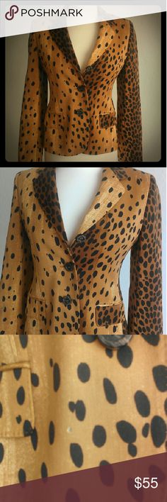 Moschino Leopard Print  Blazer/Jacket Size 8 Fabulous Moschino leopard jacket..In near perfect condition except for three small holes..one pictured..will post photos of other two soon..all barely noticeable. Moschino Jackets & Coats Blazers