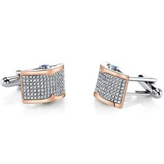 Sterling Silver Mens Rose Tone Cufflinks with Micropave Cubic Zirconia. 238 pieces Machine Cut Super Sparkling Cubic Zirconia Accents. Cufflinks are in Sterling Silver with 925 Stamp. Perfect Gift for Fathers Day, Graduation, Birthdays, Weddings. Exclusive Styling and Craftsmanship. Includes Gift Box and 30 Day Money Back Guarantee.