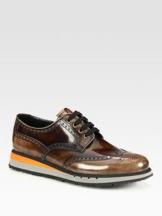 Prada Wingtip Platform Sneakers-must have Fall Shoes, Men's Shoes, Dress Shoes, Prada Men, Brown Sneakers, Platform Sneakers, Shoe Collection, Chelsea Boots, Athletic Shoes