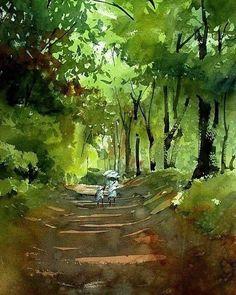 Kazuo Kasai-May Green - Gouache Painting Watercolor Landscape Paintings, Watercolor Trees, Watercolor Artists, Watercolor Illustration, Watercolour Painting, Landscape Art, Painting & Drawing, Watercolor Japan, Watercolors