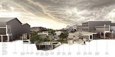 Perspectiva seccionada de área urbana Hub en la parte antigua de Puerto Prince.
