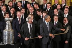 LA Kings with President Obama at the White House with Stanley Cup.