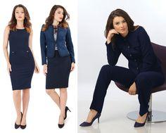 This Fall, wear blue! YOKKO   fall16  #blue #office #jackets #skirts #outfits #women #style #fashion #yokkoinspiration