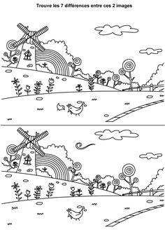 Jeu des différences à imprimer, la moulin