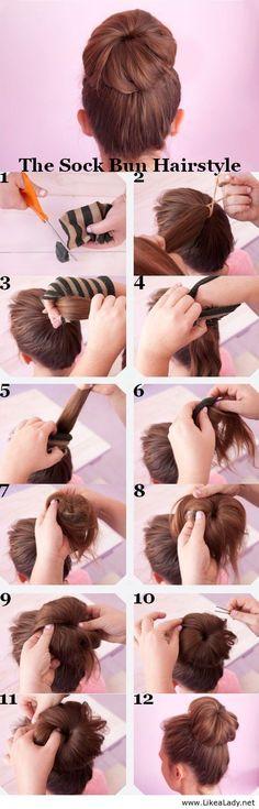 The sock bun hairstyle