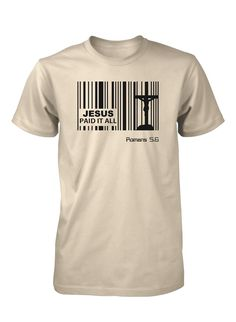 Jesus Paid Price Bar Code God Christian T-shirt for Men