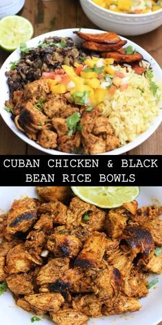 & The World's most delicious Cuban Chicken & Black Bean Rice Bowls Prep time 30 mins Cook time 30 mins Total time 1 hour Chicken Rice Bowls, Chicken Spices, Chicken Recipes, Recipe Chicken, Empanadas, Tostadas, Enchiladas, Julia Childs, Healthy Meal Prep