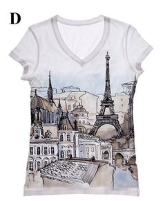 Woman Paris Eiffel tower scenery romantic city view printed tank top and tshirt by Hellominky