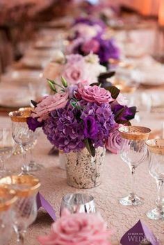 plum rustic chic wedding centerpieces/ shade of purple wedding decorations/ plum wedding flowers Purple Hydrangea Wedding, Purple And Gold Wedding, Lilac Wedding, Floral Wedding, Trendy Wedding, Purple Hydrangeas, Purple Flowers, Purple Gold, Wedding Ideas Purple