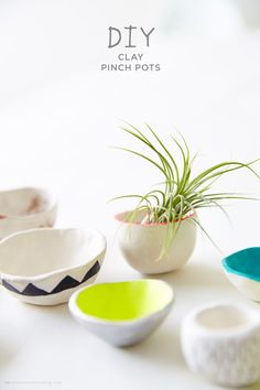 DIY clay pinch pots (for rings, air plants, or small desk accessories)